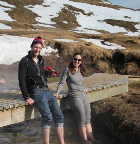 Lilja and Jon Petur enjoying the hot springs